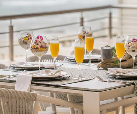 Close-up of mimosas on table outside